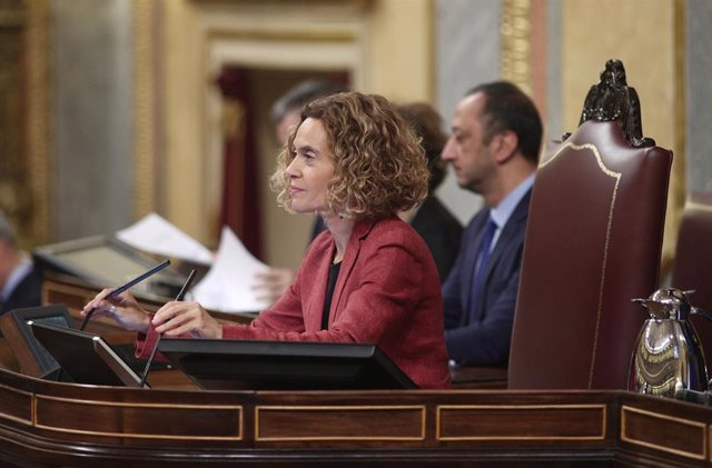 La reelegida presidenta del Congreso de los Diputados, Meritxell Batet, durante su intervención en la sesión de constitución de las Cortes