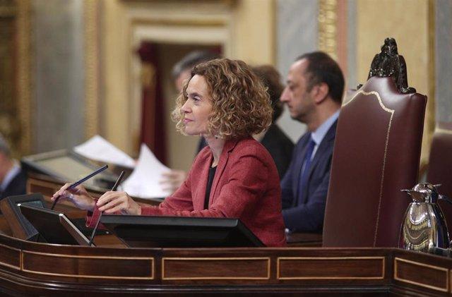 La reelegida presidenta del Congreso de los Diputados, Meritxell Batet, durante su intervención en la sesión de constitución de las Cortes para la XIV Legislatura en el Congreso de los Diputados, Madrid (España), a 3 de diciembre de 2019.