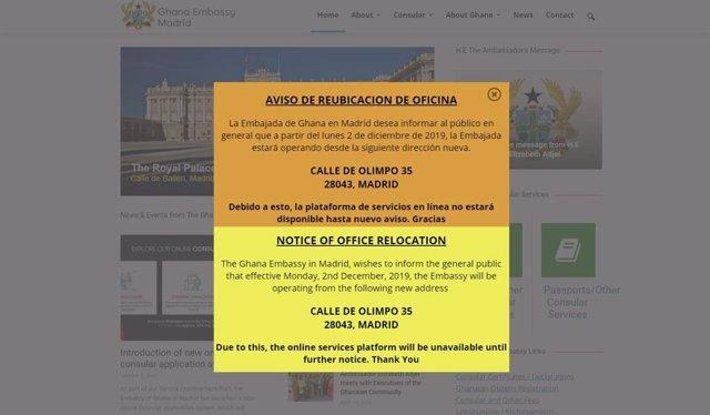 Página web de la Embajada de Ghana, anunciando su traslado a la antigua sede de IU