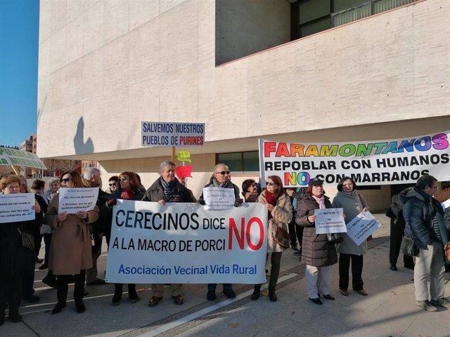 Concentración en contra de la instalación de granjas de cerdos ante las Cortes regionales.