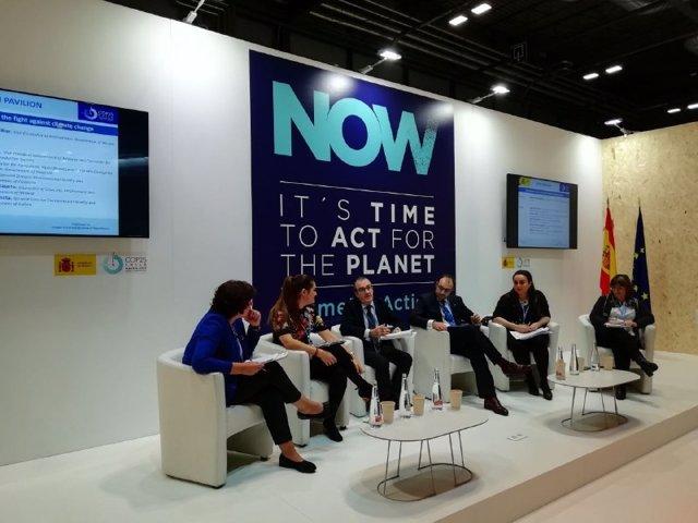 El vicepresident del Govern balear i conseller de Transició Energètica i Sectors Productius, Juan Pedro Yllanes, ha participat en la taula de debat 'L'acció subnacional en la lluita contra el canvi climàtic' que s'ha celebrat en la COP25.