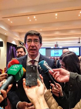 El vicepresidente de la Junta de la Andalucía y consejero de Turismo, Regeneración, Justicia y Administración Local, Juan Marín, en una imagen de archivo.