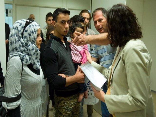 Foto de archivo de solicitantes de asilo.