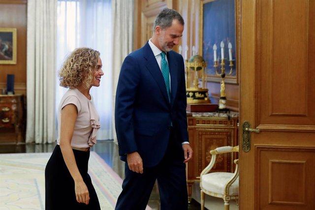 El rei Felip VI rep la presidenta del Congrés, Meritxell Batet, al Palau de la Zarzuela per preparar la ronda de consultes amb els partits polítics, 12 de setembre del 2019.