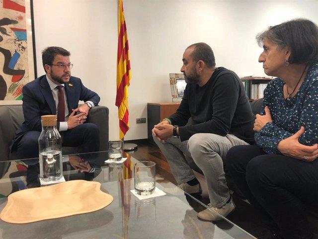 El vicepresident i coordinador nacional d'ERC, Pere Aragonès, es reuneix amb el secretari general de CCOO Catalunya, Javier Pacheco