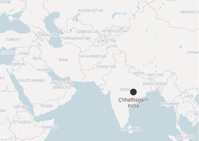 Mapa de Chhattisgarh, India