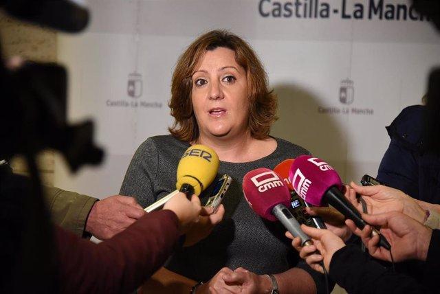 La consejera de Economía, Patricia Franco, antes de la reunión de seguimiento del Pacto por la Recuperación Económica de C-LM.
