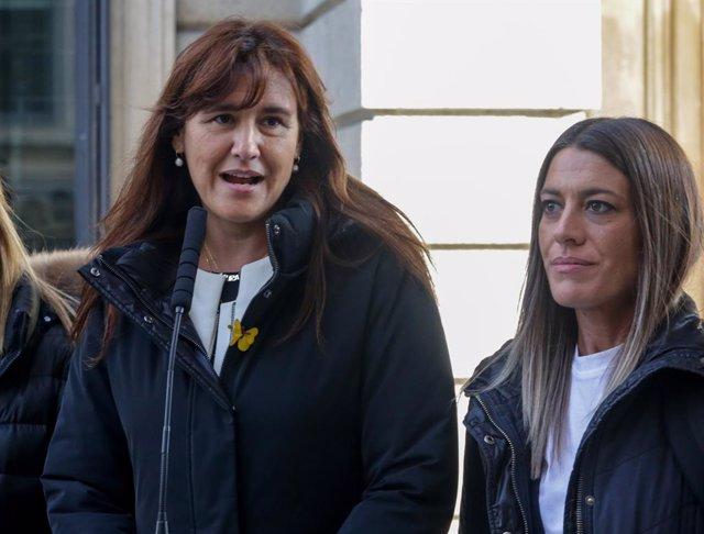 Les diputades de JxCat al Congrés, Laura Borràs (e) i Miriam Nogueras (d) a Madrid (Espanya), 3 de diciembre del 2019.