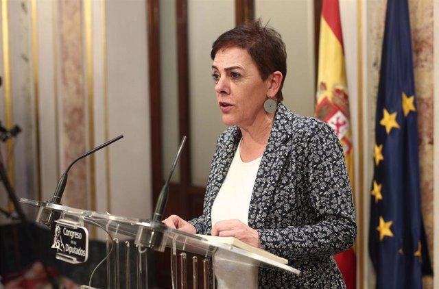 La portavoz de EH Bildu en el Congreso, Mertxe Aizpurua, en rueda de prensa