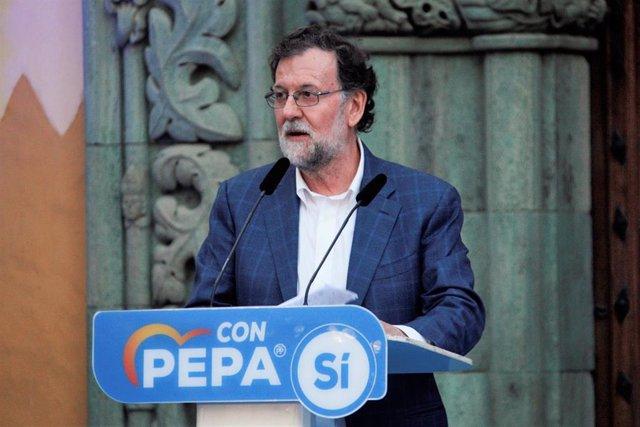 El ex presidente del Gobierno Mariano Rajoy durante el mitin de presentación oficial de Pepa Luzardo como candidata a acaldesa de Las Palmas de Gran Canaria