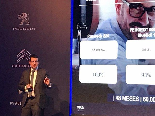 Christophe Mandon, director de Comercio de PSA para España y Portugal, presenta el proceso de electrificación del grupo francés, en Madrid