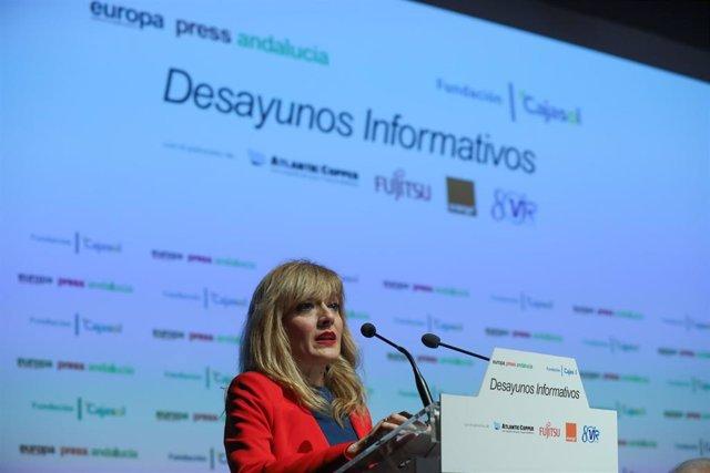 La secretaria general de UGT-A, Carmen Castilla, participa en los desayunos informativos de Europa Press Andalucía (Foto de archivo).