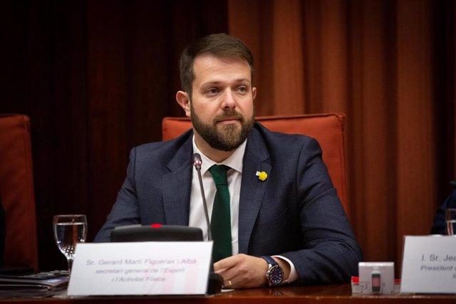 El secretario de Deportes de la Generalitat, Gerard Figueras, comparece en el Parlament de Catalunya, en Comisión de Asuntos Institucionales, en Barcelona (Cataluña/España), a 4 de diciembre de 2019.
