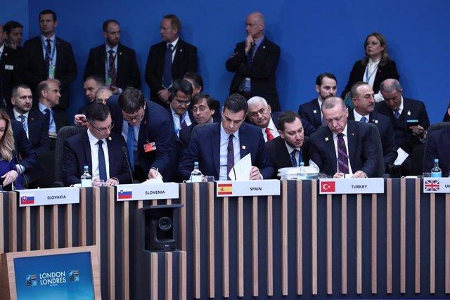 El presidente del Gobierno, Pedro Sánchez, en la reunión de líderes de la OTAN en Londres