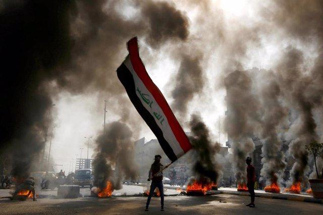 Imagen de protestas en Irak.