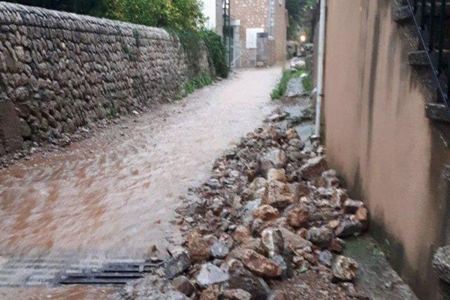 Una calle de Mallorca inundada.