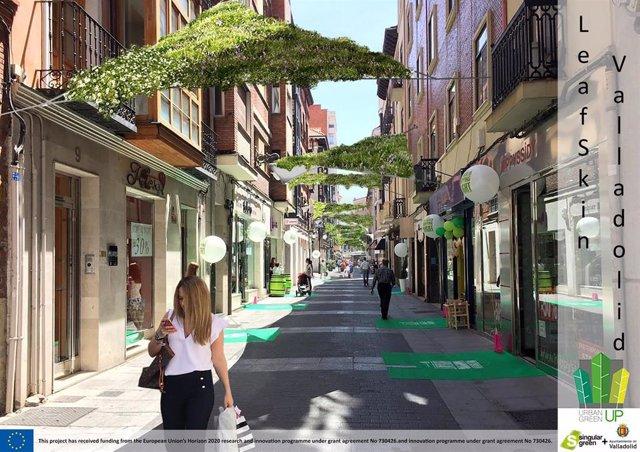 Fotomontaje de toldos en la calle Santa María.