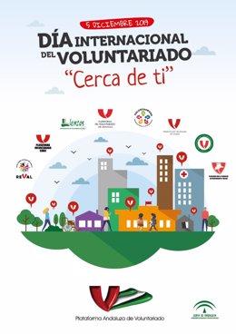 Cartel elaborado por la Plataforma Andaluza de Voluntario para conmemorar este jueves 5 de diciembre el Día Internacional del Voluntariado.