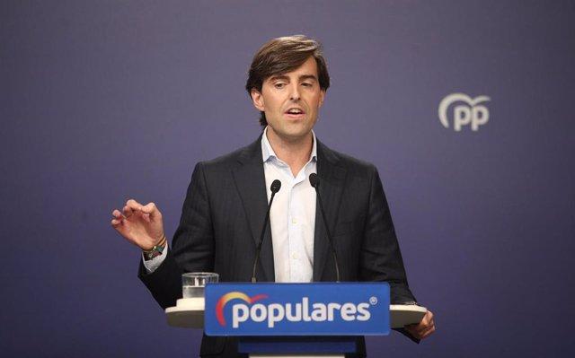 El vicesecretario de Comunicación del Partido Popular, Pablo Montesinos, durante la rueda de prensa ofrecida tras la reunión del Comité de Dirección del PP, en Madrid (España), a 26 de noviembre de 2019.