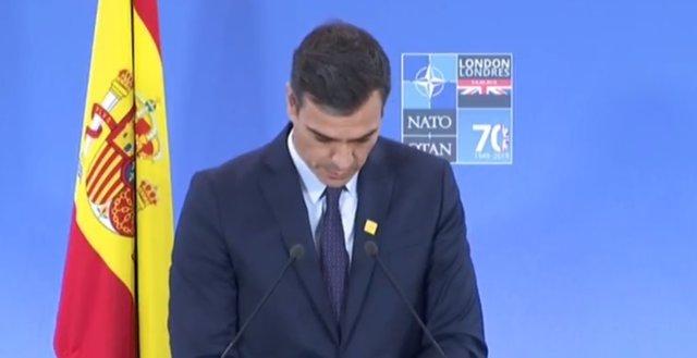 Rueda de prensa de Pedro Sánchez en la cumbre de la OTAN en Londres