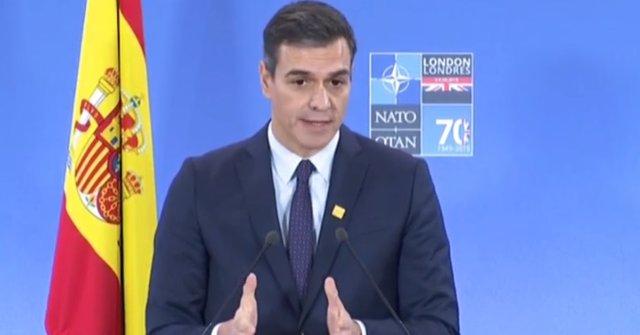 Roda de premsa de Sánchez en la cimera de l'OTAN a Londres.