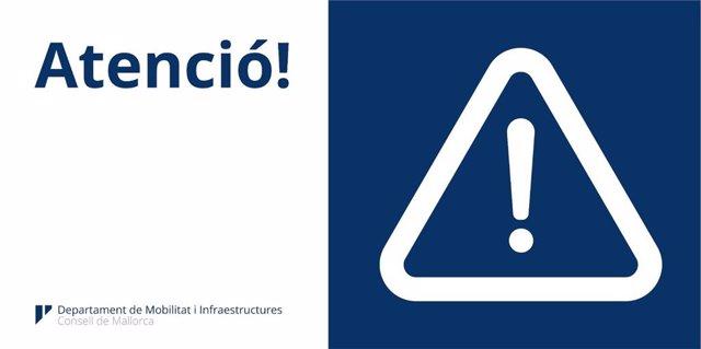 Cartell d'advertiment del Consell de Mallorca.