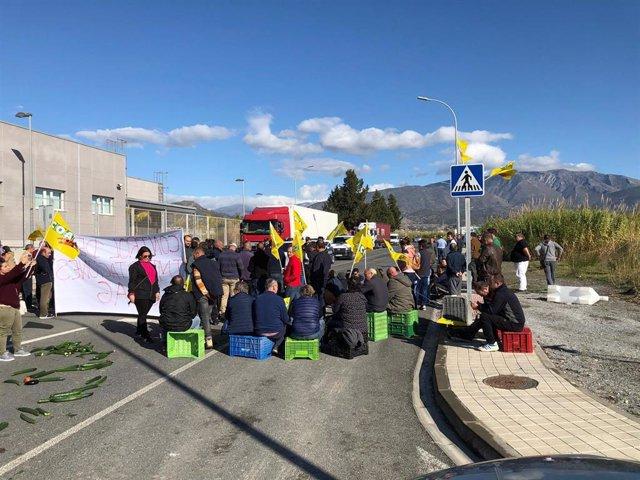 Agricultores cortan el principal acceso al Puerto de Motril