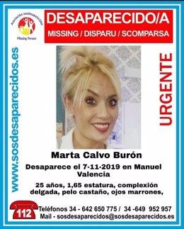 Cartel de desaparecida de Marta Calvo