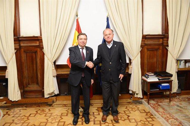 El ministro de Agricultura, Pesca y Alimentación en funciones, Luis Planas, junto con su homólogo chileno, Antonio Walker