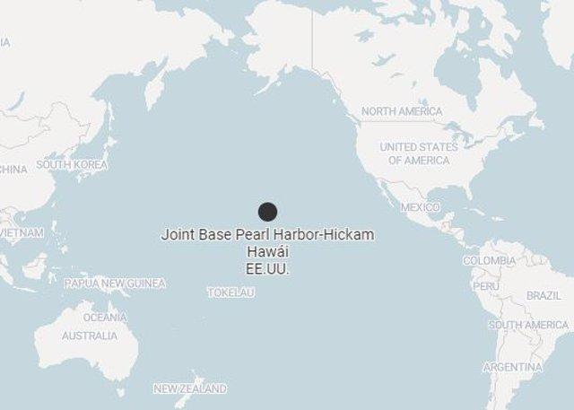 Mapa de la base militar estadounidense de 'Pearl Harbor-Hickam' en Hawái