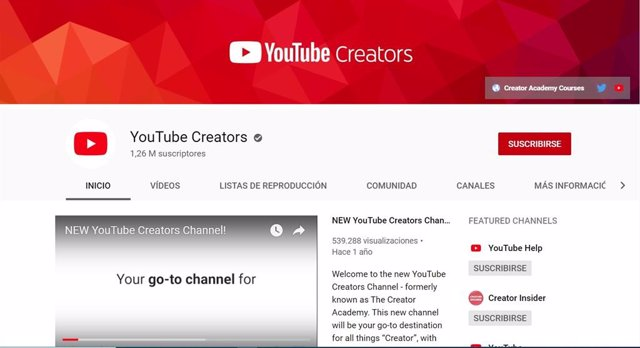 Cuenta YouTube Creators, verificada por YouTube