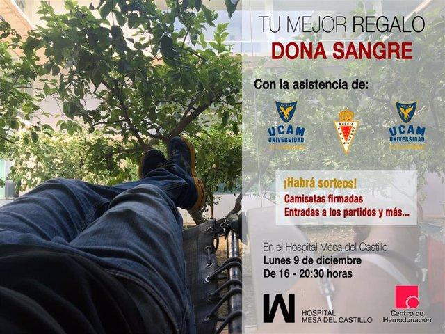 Cartel de la donación de sangre organizada en el Hospital Mesa del Castillo