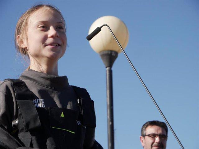 La joven activista sueca Greta Thunberg, a su llegada a Lisboa tras cruzar el Atlántico el pasado lunes.
