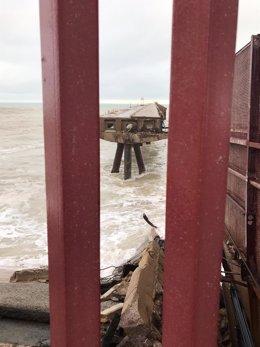El temporal causa la caída de parte de un pantalán del Puerto de Sagunto, que se reconstruirá y rehabilitará