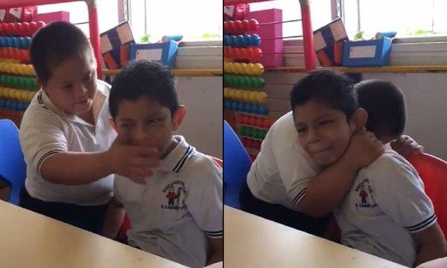 La empatía de un niño con síndrome de Down mostrada al calmar a otro con autismo inspira en redes sociales