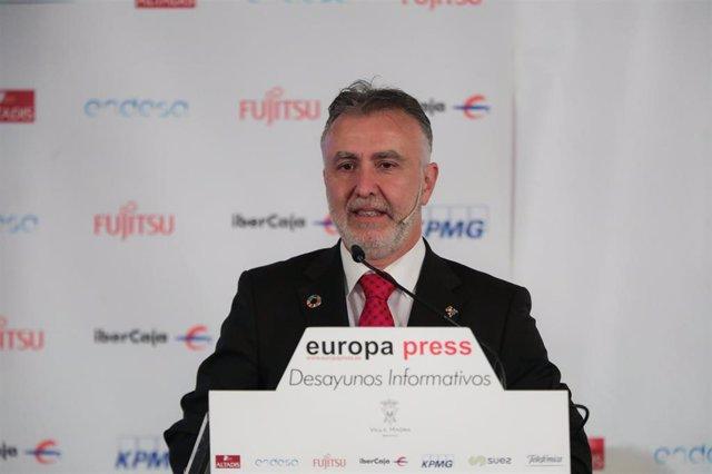 El presidente de Canarias, Ángel Víctor Torres durante su intervención en un Desayuno Informativo de Europa Press ,en el Hotel Villa Magna, en Madrid (España), a 5 de diciembre de 2019.