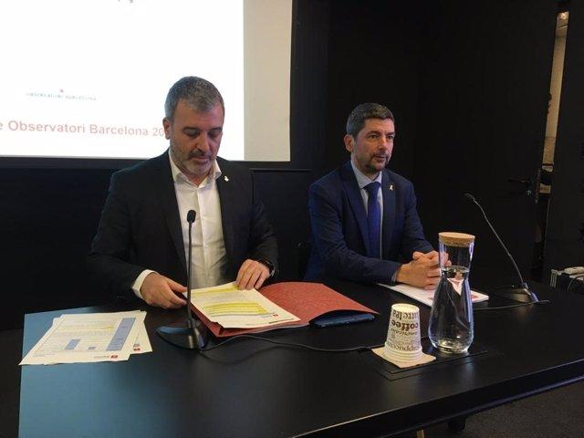 El primer tinent d'alcalde de Barcelona, Jaume Collboni, i el president de la cambra de comerç de Barcelona, Joan Canadell, en roda de premsa aquest dimecres