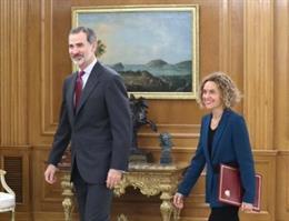 El rei Felip VI rep en audiència Meritxell Batet, que repeteix com a presidenta del Congrés dels Diputats en la XIV Legislatura de les Corts, al palau de La Zarzuela, Madrid (Espanya), 4 de desembre del 2019.
