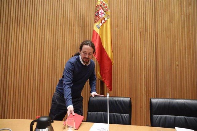 El secretario general de Podemos, Pablo Iglesias a su llegada al diálogo `Nudo España: un año después en el Congreso de los Diputados, en Madrid (España), a 5 de diciembre de 2019.