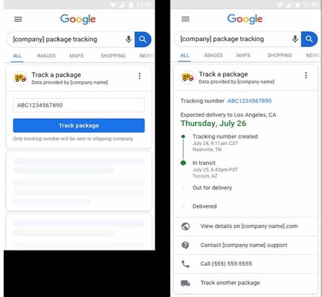 Google crea una nueva función que permite ver el estado de un pedido desde la barra de Busqueda del navegador.