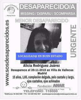 Localizada en buen estado la adolescente de Puente de Vallecas desaparecida desde el viernes