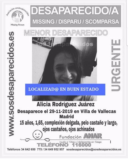 Localizada en buen estado la adolescente de Puente de Vallecas desaparecida desde hace casi una semana