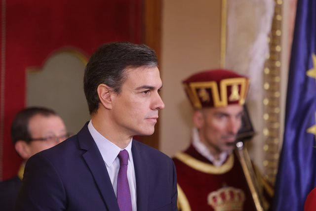 El presidente del Gobierno en funciones, Pedro Sánchez, en los actos del Día de la Constitución en el Congreso