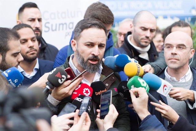 Santiago Abascal (Vox) a la manifestació de Barcelona a favor del Dia de la Constitució, a la plaça Urquinaona el 6 de desembre del 2019