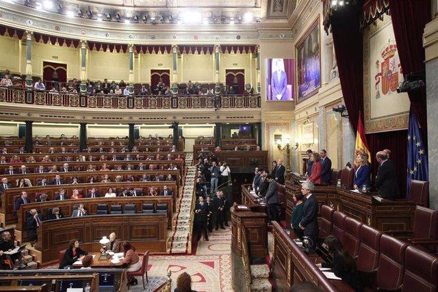 Vista general del hemiciclo durante la sesión de constitución de las Cortes para la XIV Legislatura en el Congreso de los Diputados, Madrid (España), a 3 de diciembre de 2019.