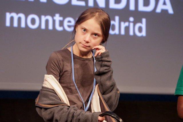 Rueda de prensa de la activista sueca Greta Thunberg en la Casa Encendida de Madrid previa a la manifestación por el clima que marchará por la capital a 6 de diciembre de 2019