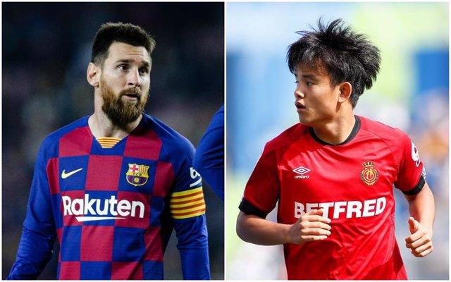 Messi (Barcelona) y Kubo (Mallorca)