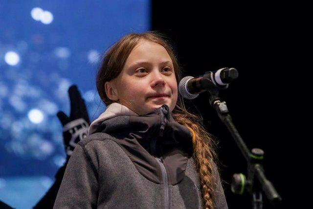 L'activista sueca Greta Thunberg intervé en la Marxa pel Clima que recorre els carrers del centre de Madrid, 6 de desembre del 2019