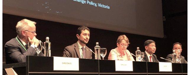 El conseller de Territori i Sostenibilitat de la Generalitat , Damià Calvet, en la Cimera del Clima (COP25) de Madrid durant el Comitè Executiu d'Under2 Coalition, 7 de desembre del 2019