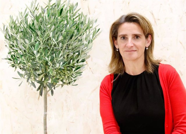 La ministra en funciones de Transición Ecólogica Teresa Ribera, en el pabellón de España en la COP25 durante una entrevista con Europa Press